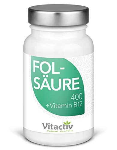 FOLSÄURE 400 + Vitamin B12, für Energie, Nerven...