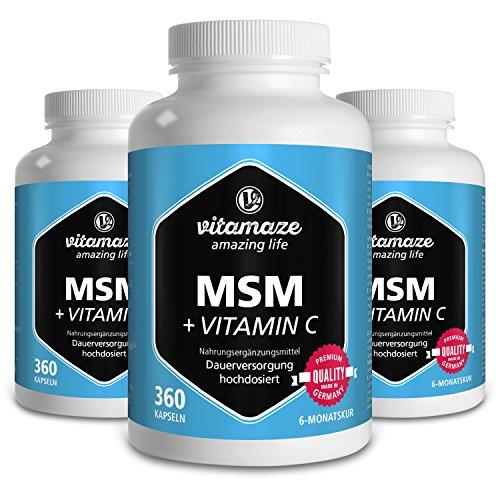 3 Dosen MSM Kapseln mit Vitamin C - 360 Stück...