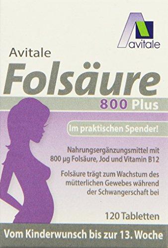 Avitale Folsäure 800 plus mit Vitamin B12 und...